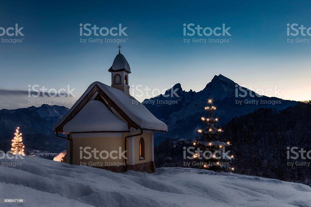 Christmas Chapel in front of Watzmann stock photo