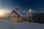 Christmas Chapel in front of Watzmann
