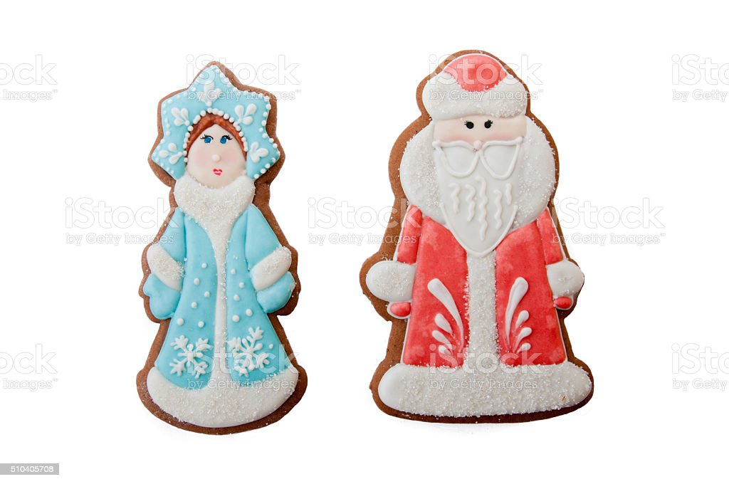 Christmas characters cookies Ded Moroz Father Frost, Snegurochka Snow Maiden stock photo