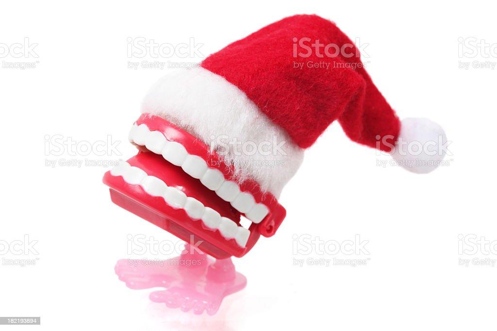 Christmas Chattering Teeth stock photo