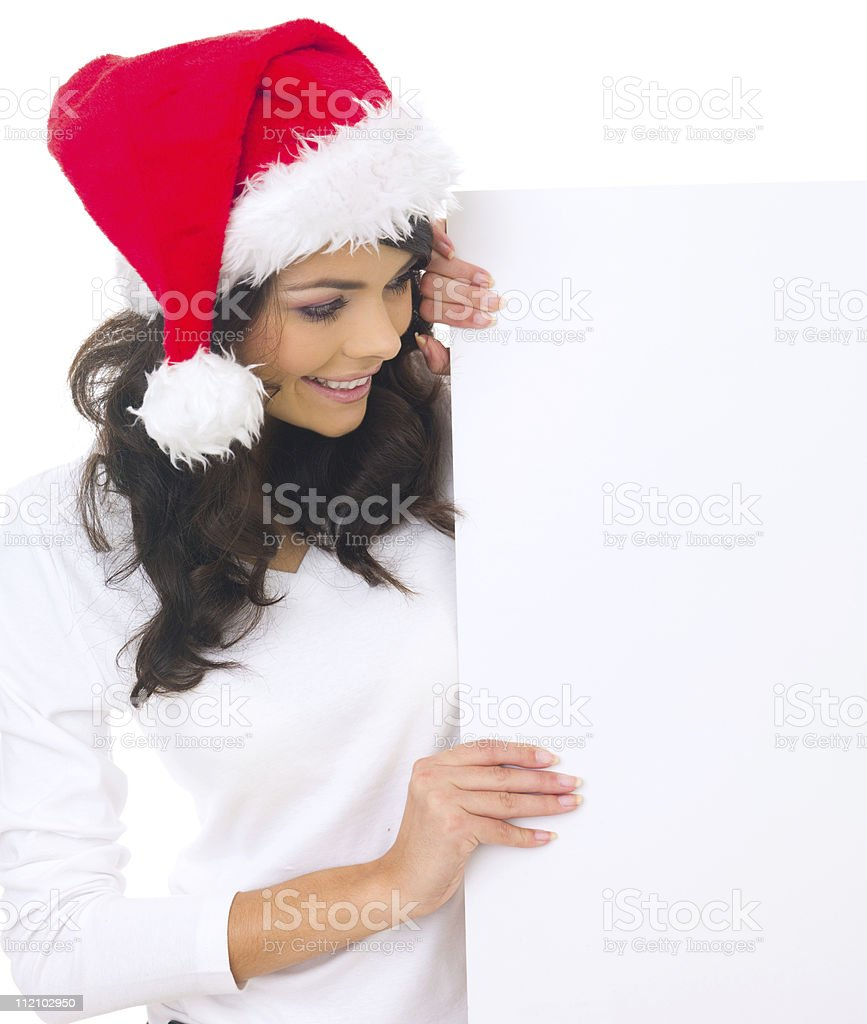 Christmas chick with board stock photo