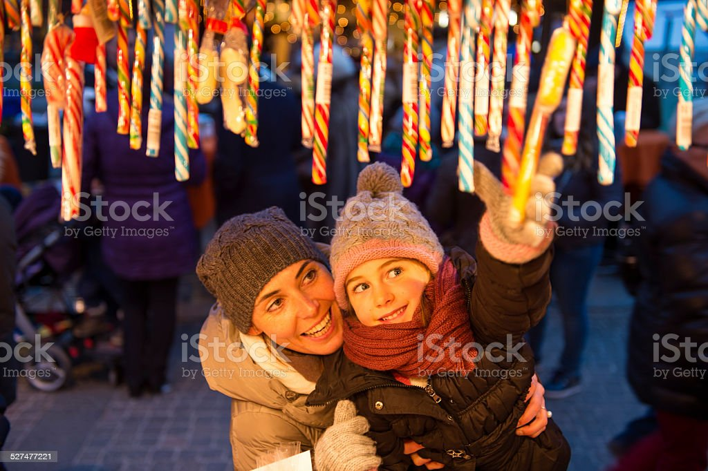 Christmas children and sweets stock photo