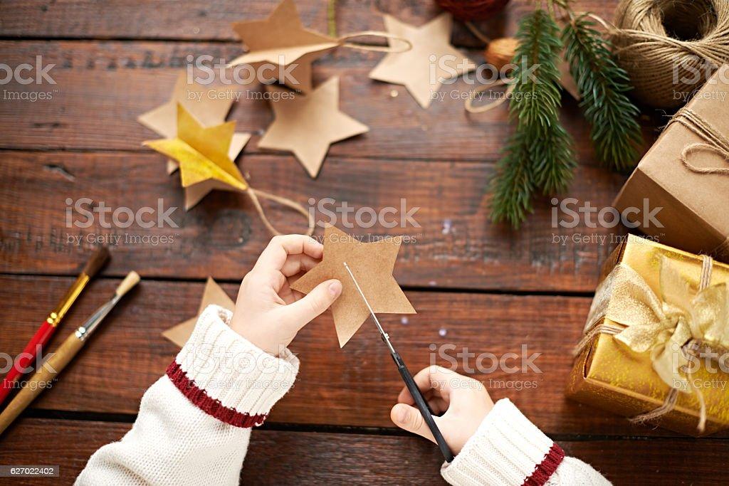 Christmas child's creativity stock photo