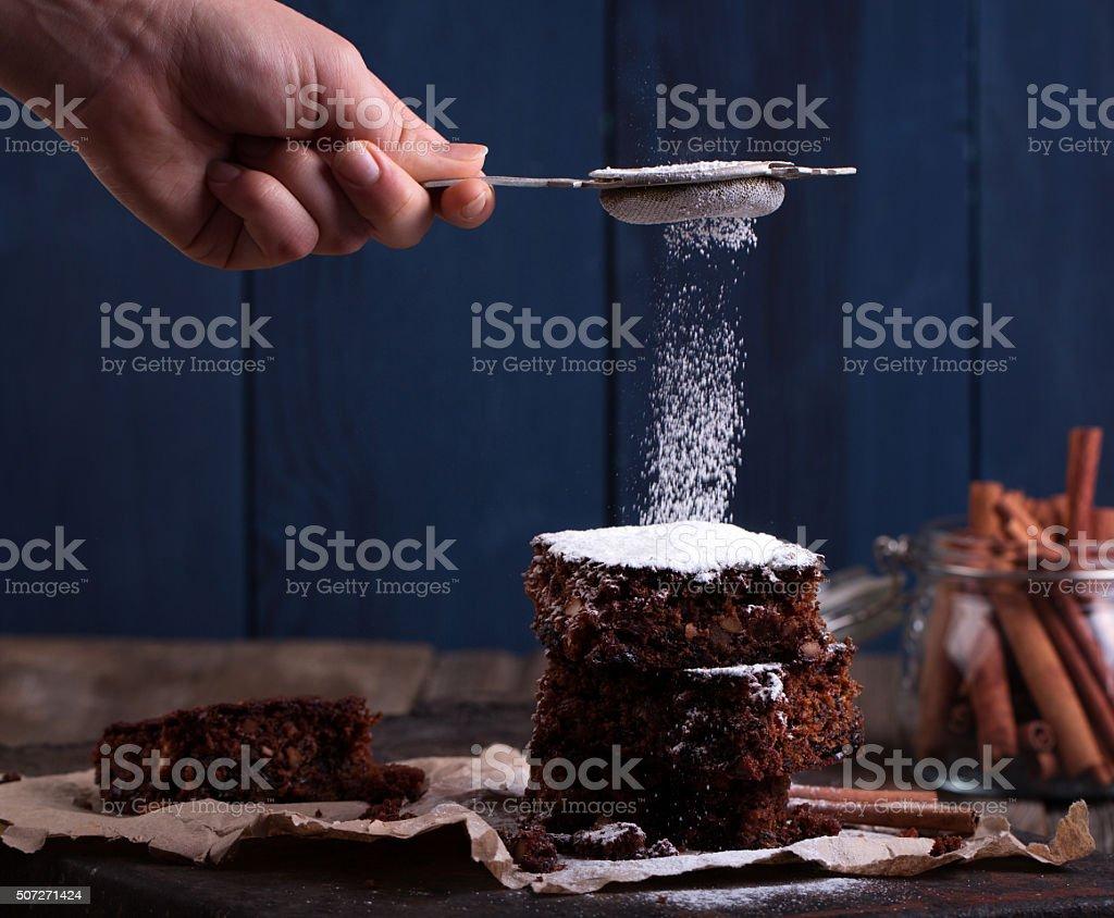 Christmas chocolate cake. stock photo