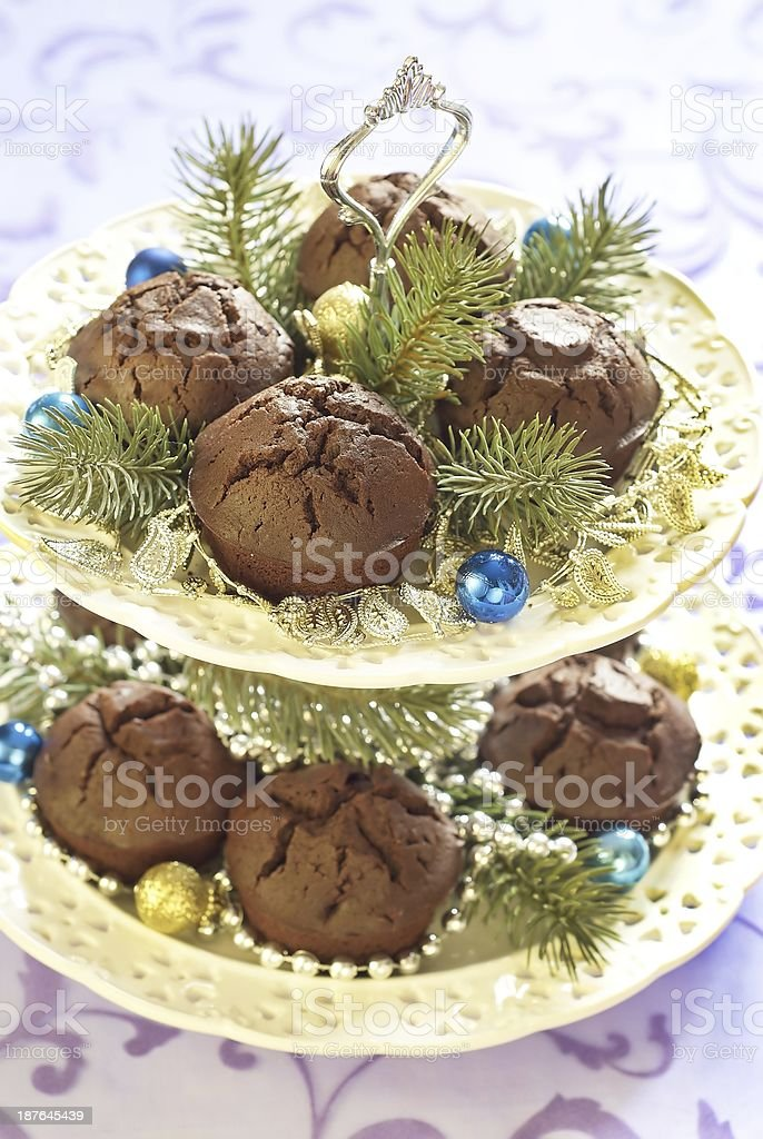 Christmas chocolate cakes royalty-free stock photo