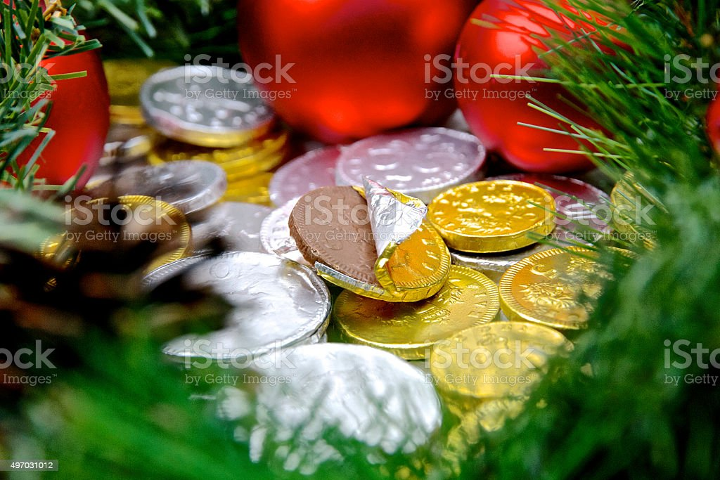 Christmas Chocolate Money Coins in Gold and Silver Foil stock photo