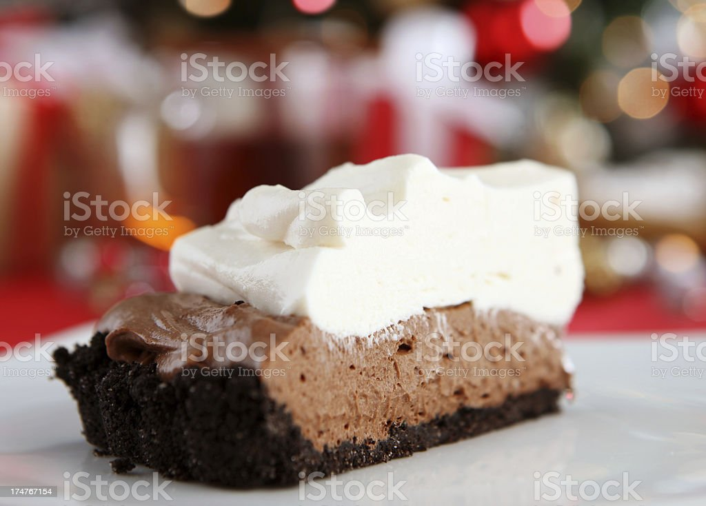 christmas chocolate pie stock photo