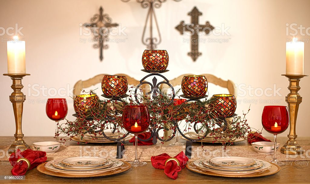 Christmas Christian Dining Dinner Setting Arrangement Table royalty-free stock photo