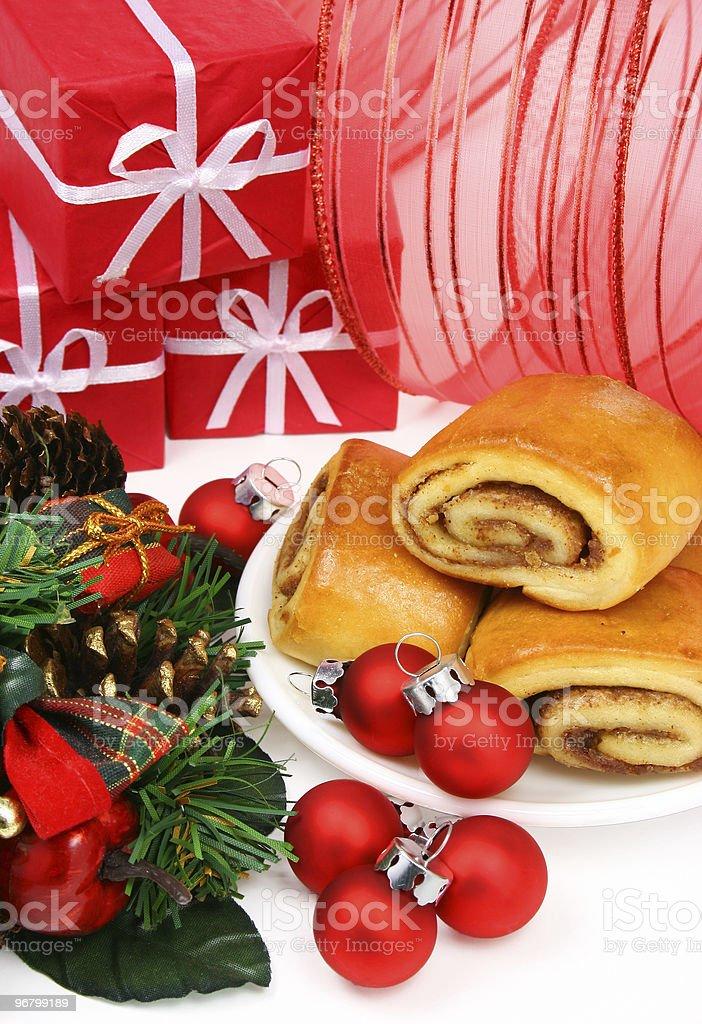 Christmas cinnamon rolls royalty-free stock photo