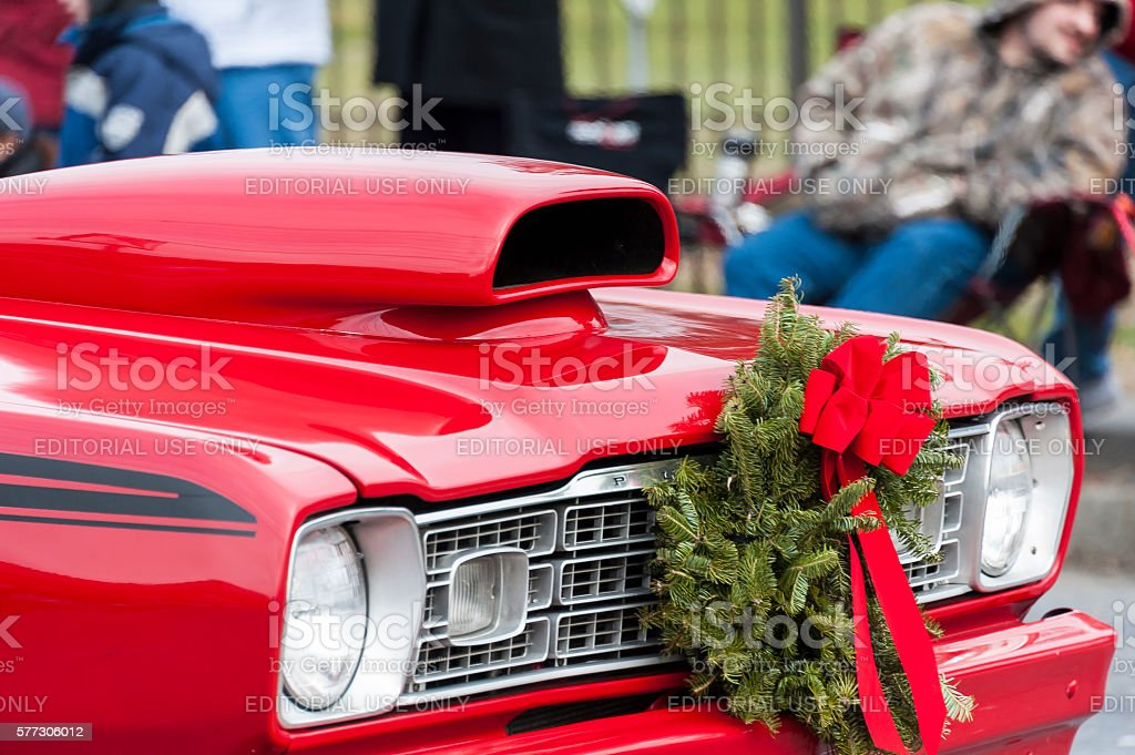 Christmas classic muscle car stock photo
