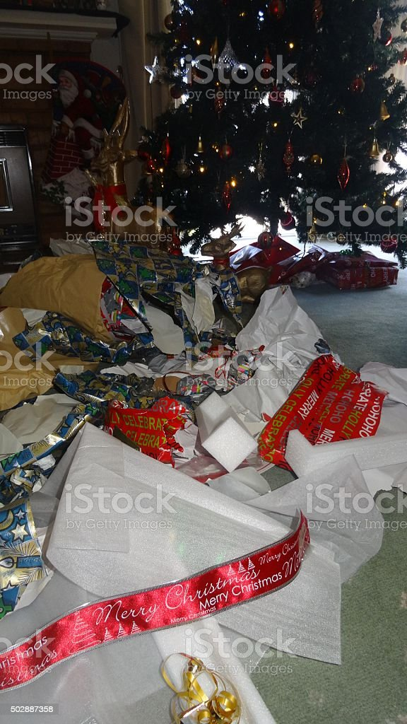 Christmas clean up time stock photo