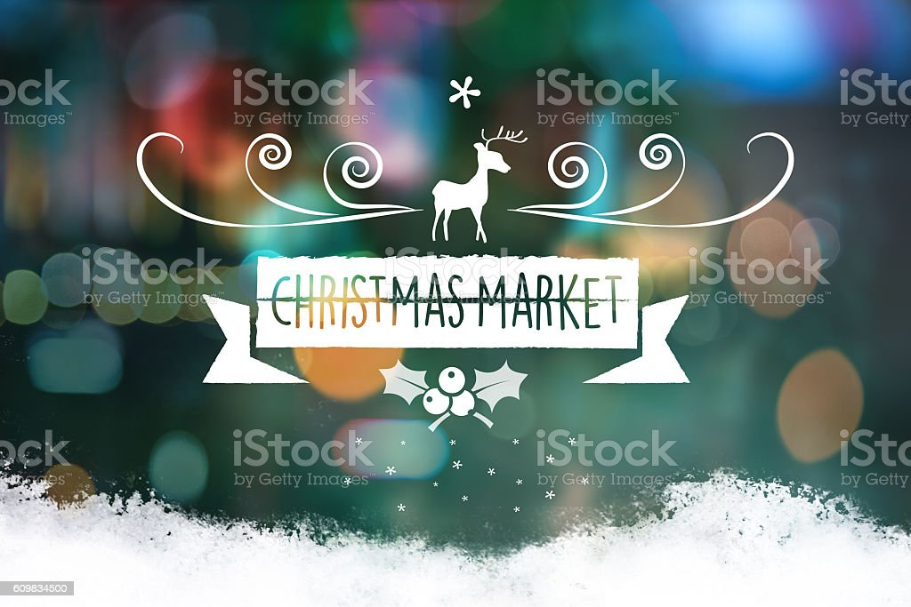 christmas collage with blurred lights and vintage line ornament stock photo