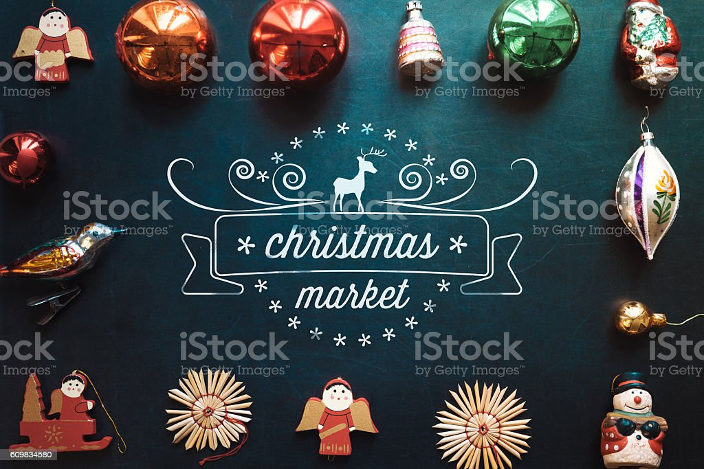 christmas collage with decoration on chalkboard and line art ornament stock photo