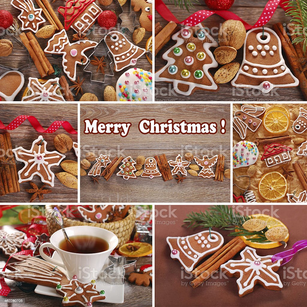 christmas collage with gingerbread cookies stock photo