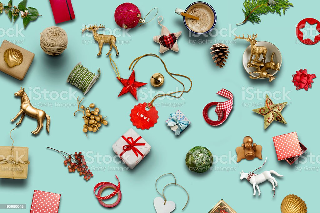 Christmas collection, gifts and decorative ornaments ... photogr stock photo