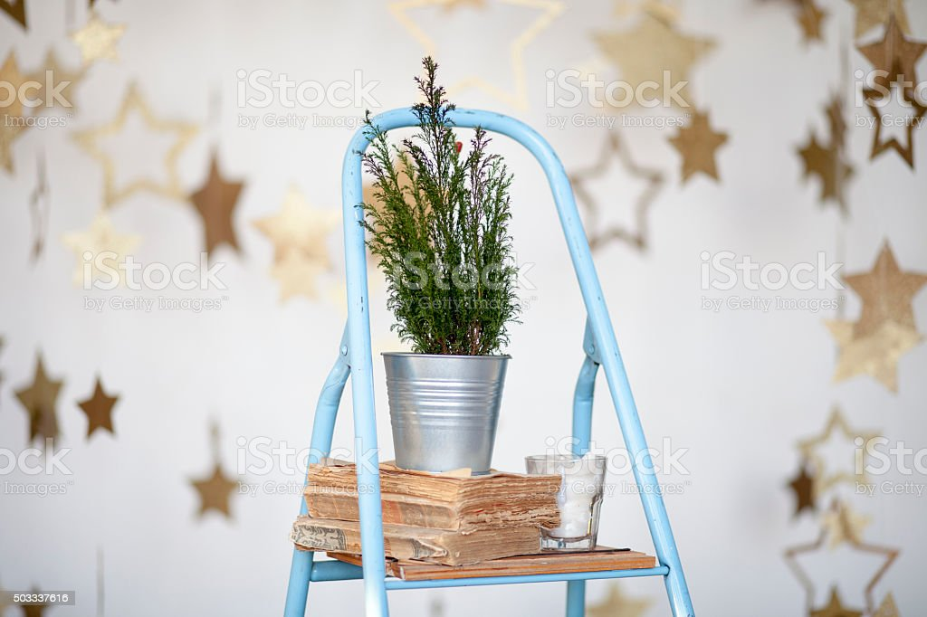 Christmas composition against starry background stock photo