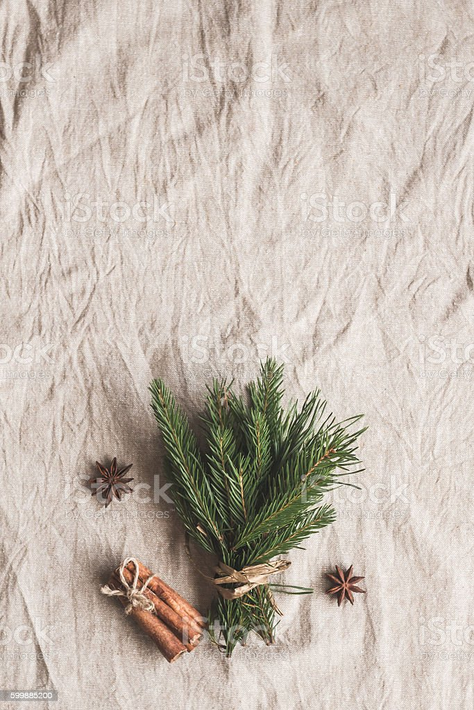 Christmas composition. Bouquet of fir branches. Flat lay, top view stock photo