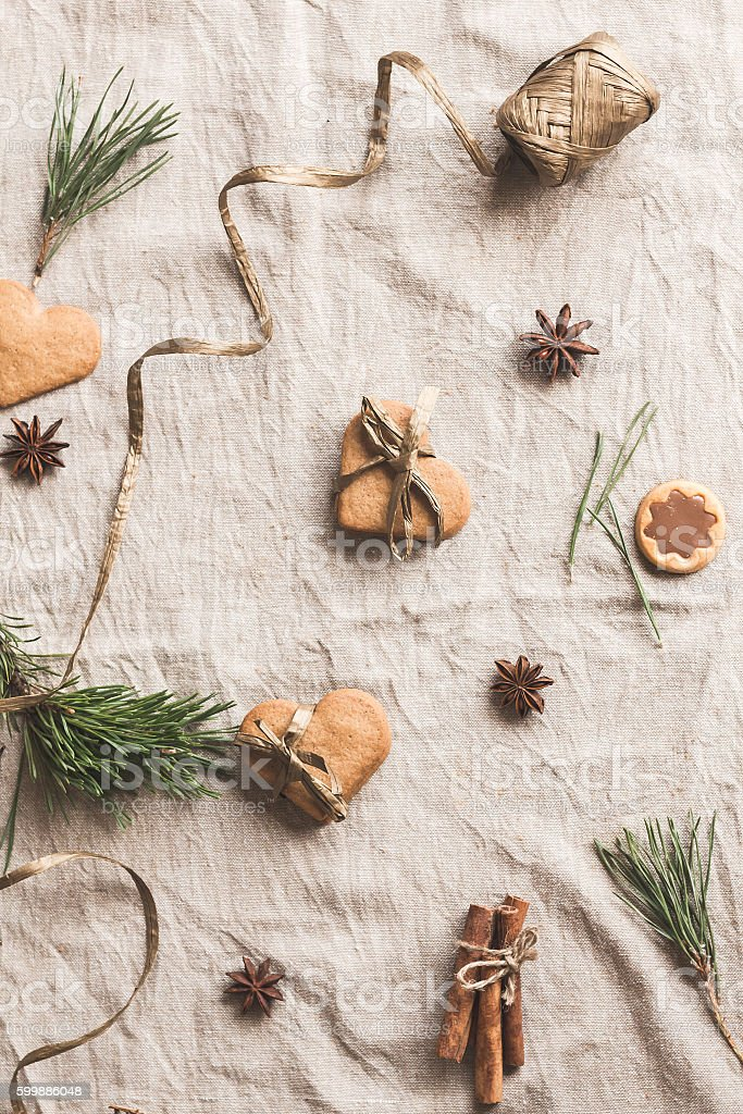 Christmas composition. Gift of christmas gingerbread. Flat lay, top view stock photo