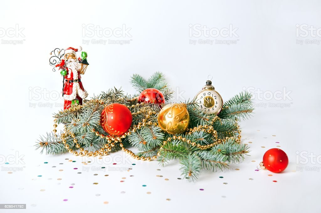 Christmas composition of fir branches stock photo