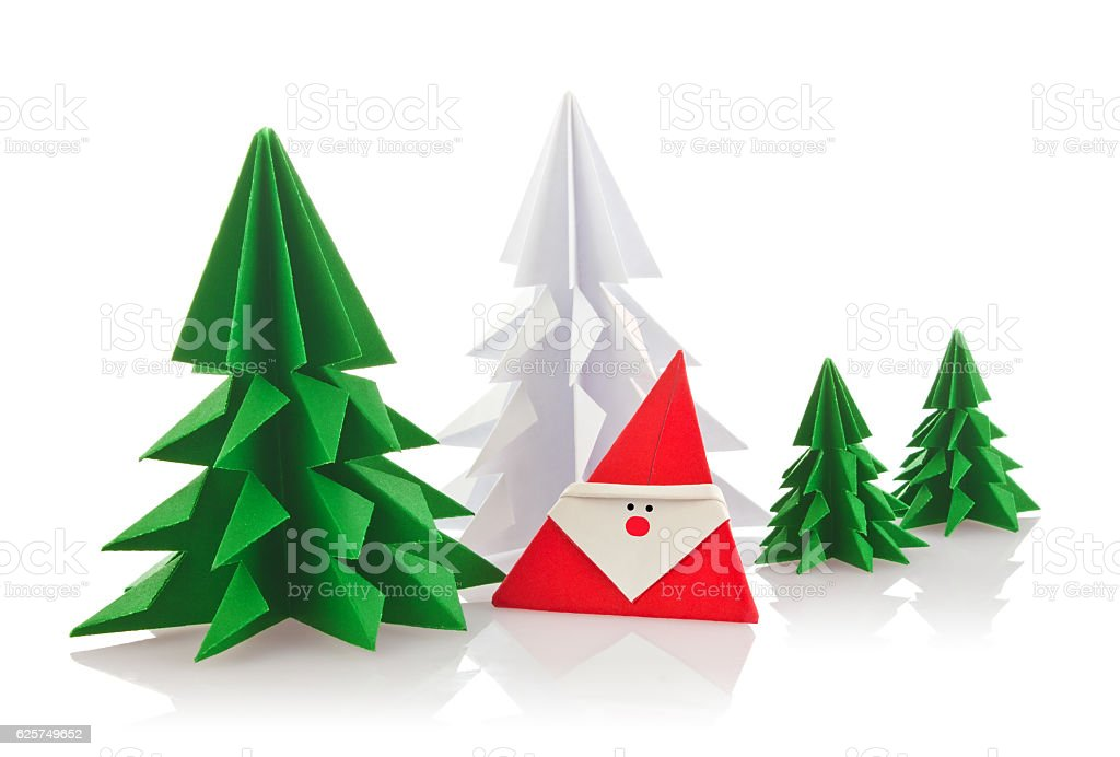 Christmas composition of origami stock photo