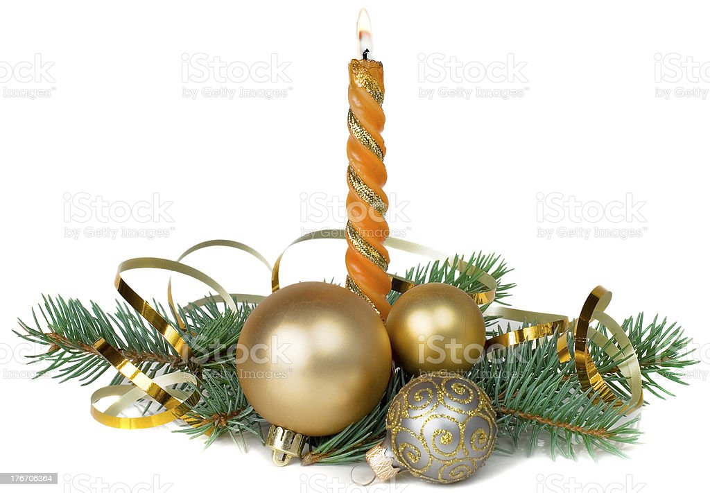 Christmas composition with a burning candle royalty-free stock photo