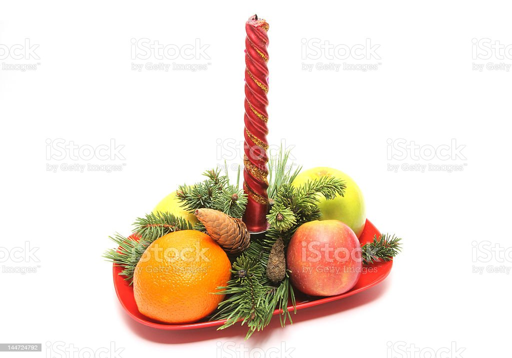 Christmas composition with fruits royalty-free stock photo