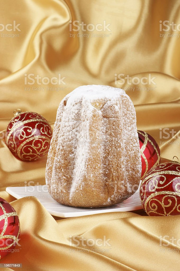 Christmas composition with Pandoro royalty-free stock photo