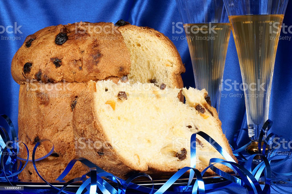 Christmas composition with panettone and spumante royalty-free stock photo