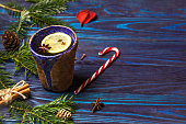 Christmas composition.Lemon tea with spices