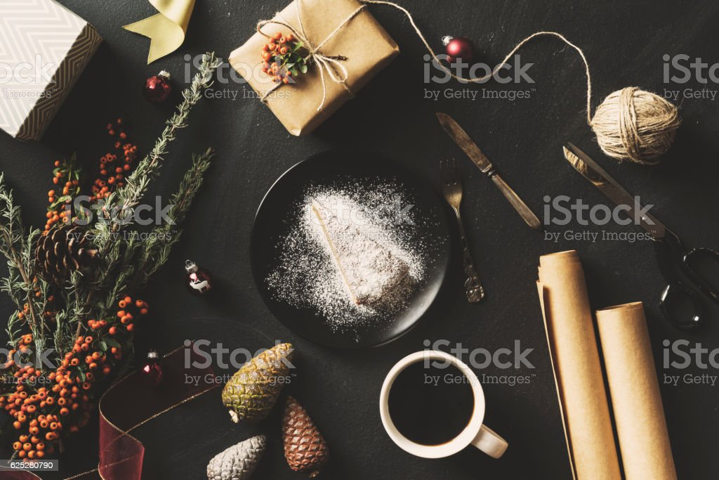 Christmas concept flat lay on blackboard stock photo