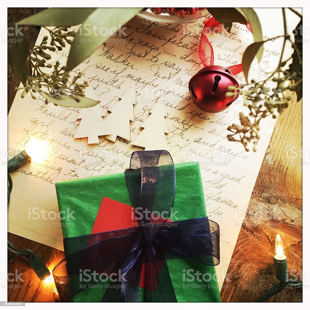 Christmas Concept with Old Letter and Present stock photo