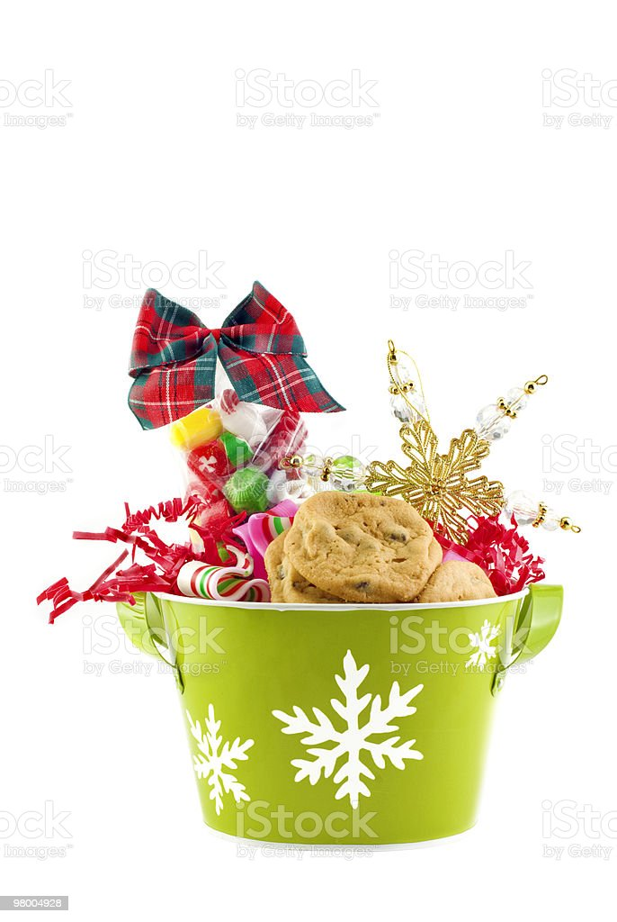 Christmas Container with Cookies and Candy royalty-free stock photo