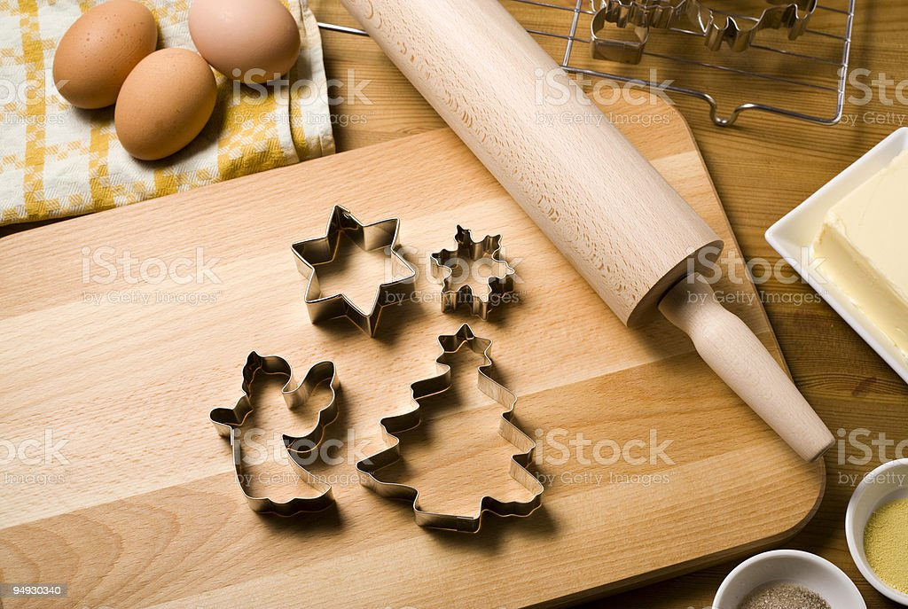 christmas cookie cutters, baking ingredients and utensils royalty-free stock photo