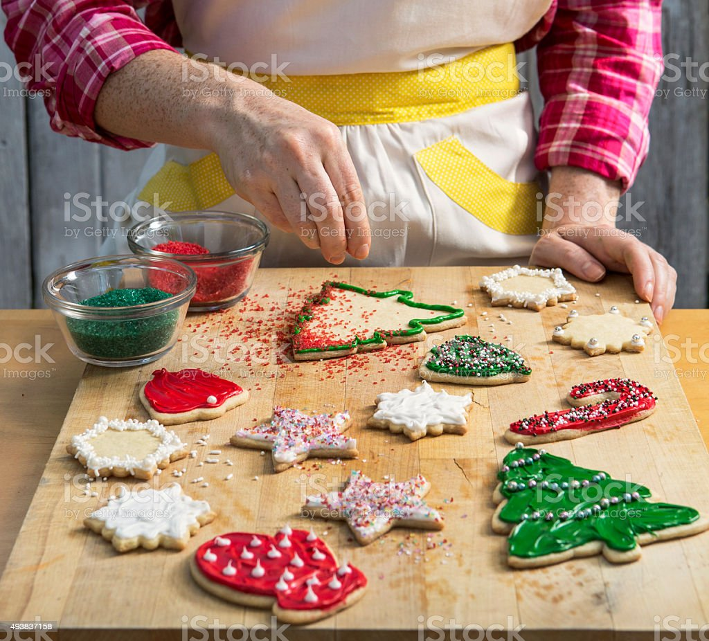 Christmas Cookie Decorating stock photo