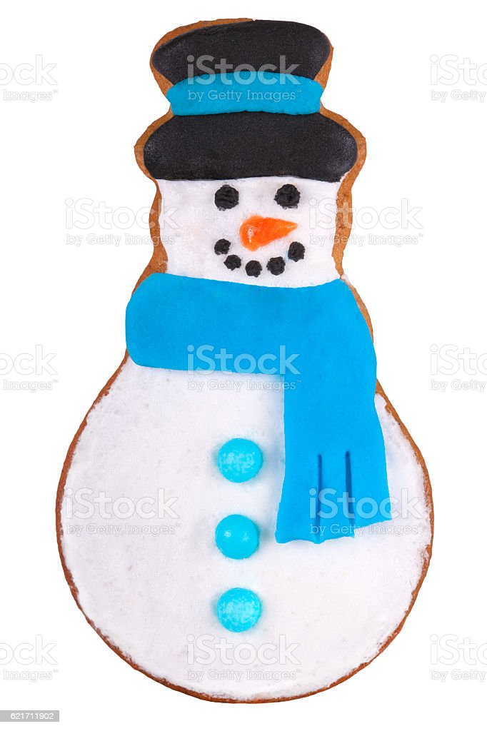 Christmas Cookie Dessert, Snowman Isolated on White stock photo