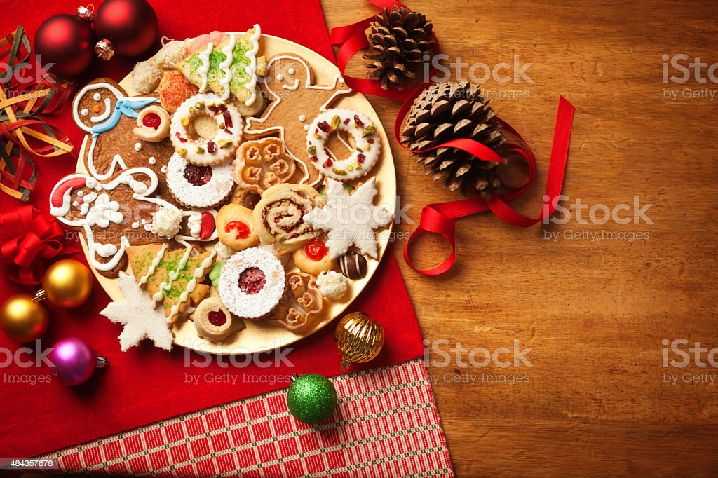 Christmas Cookie Holiday Plate Featuring Tree, Gingerbread, Snowflake Desserts stock photo