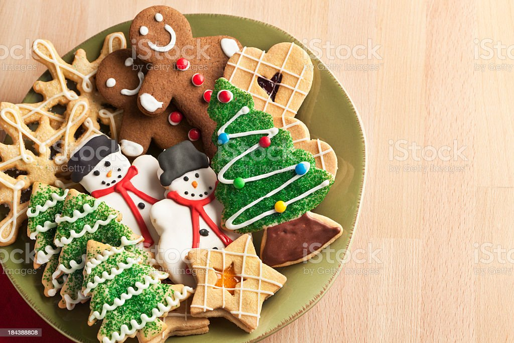 Christmas Cookie Holiday Plate Featuring Tree, Gingerbread, Snowman, Snowflake Desserts stock photo