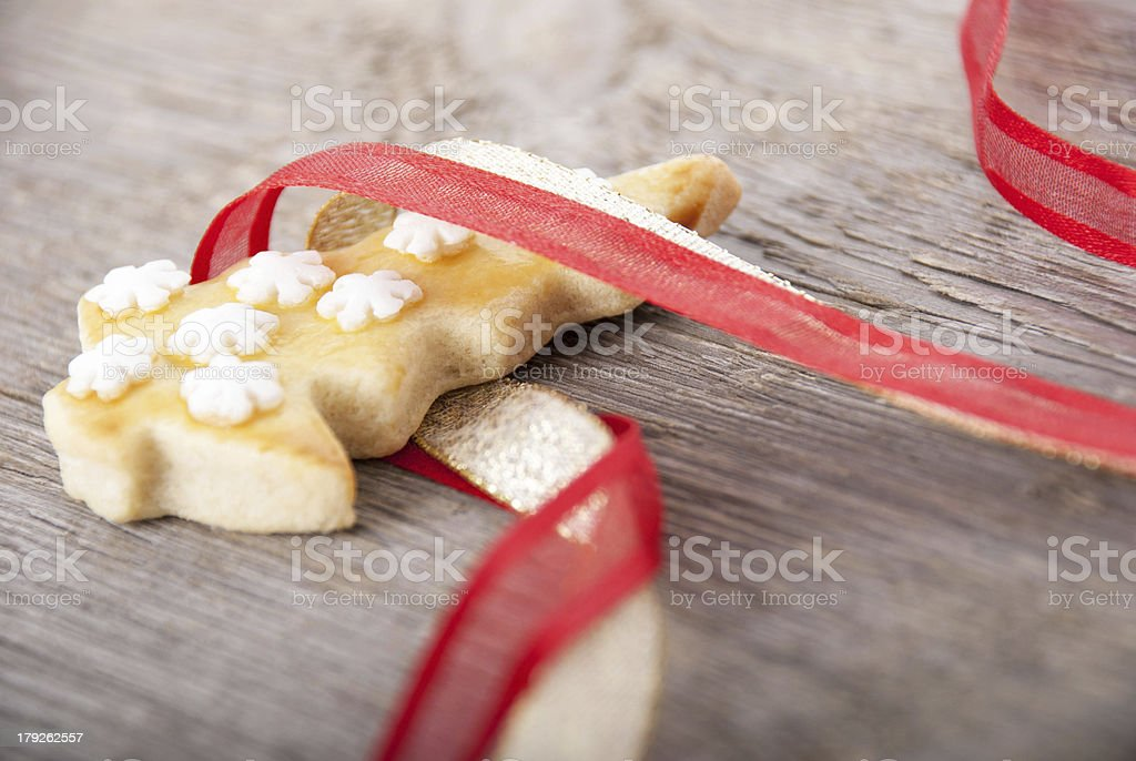 christmas cookie in ribbon stock photo