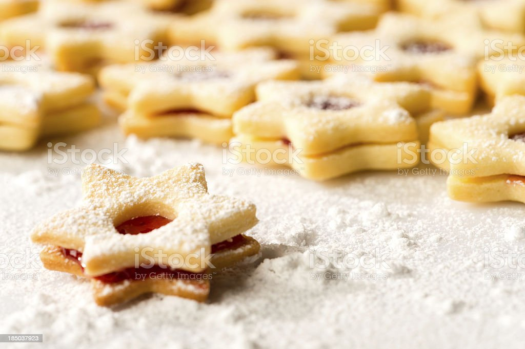 Christmas cookie stars fresh baked gingerbread royalty-free stock photo