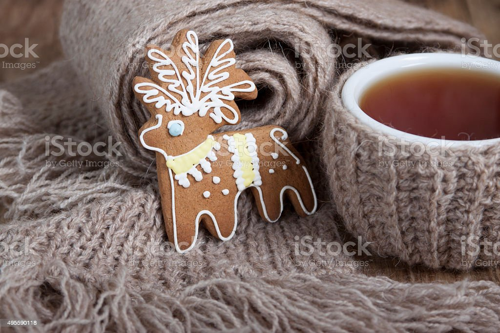 Christmas cookies  and a cup of tea   . stock photo