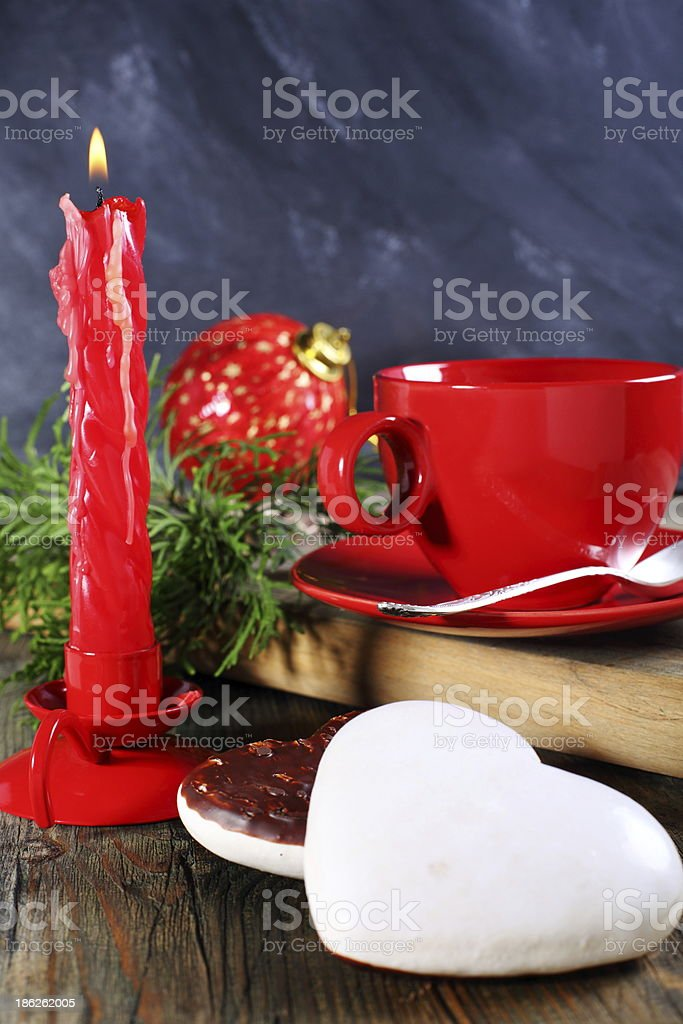 Christmas cookies and candle. royalty-free stock photo