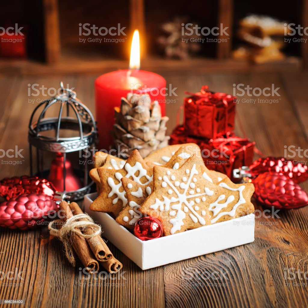 Christmas cookies and ornaments, square crop stock photo