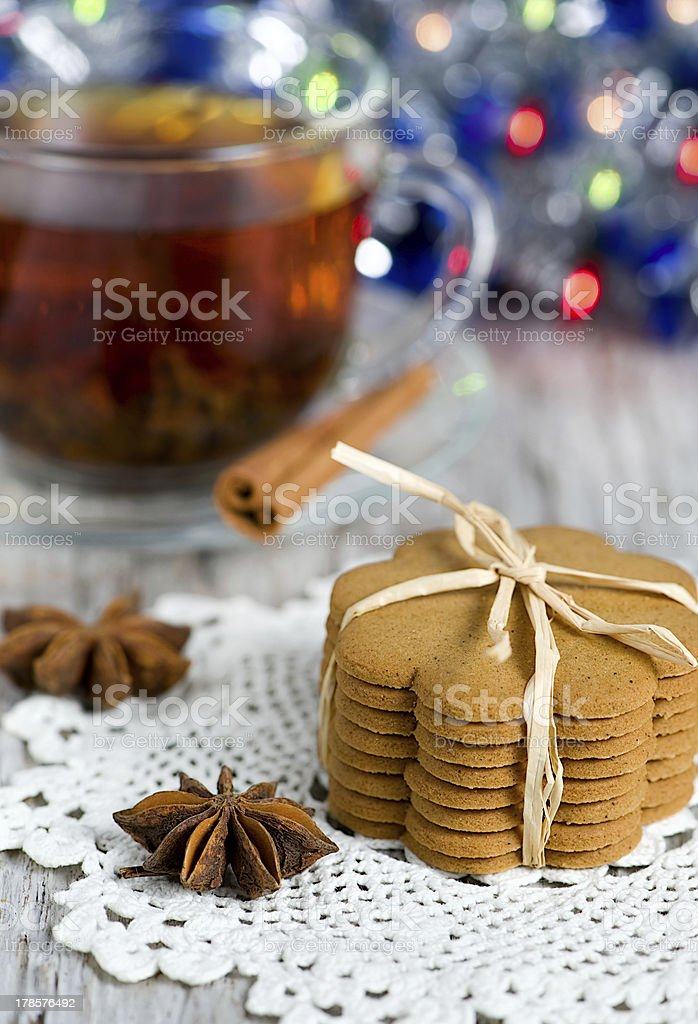 Christmas cookies and tea royalty-free stock photo