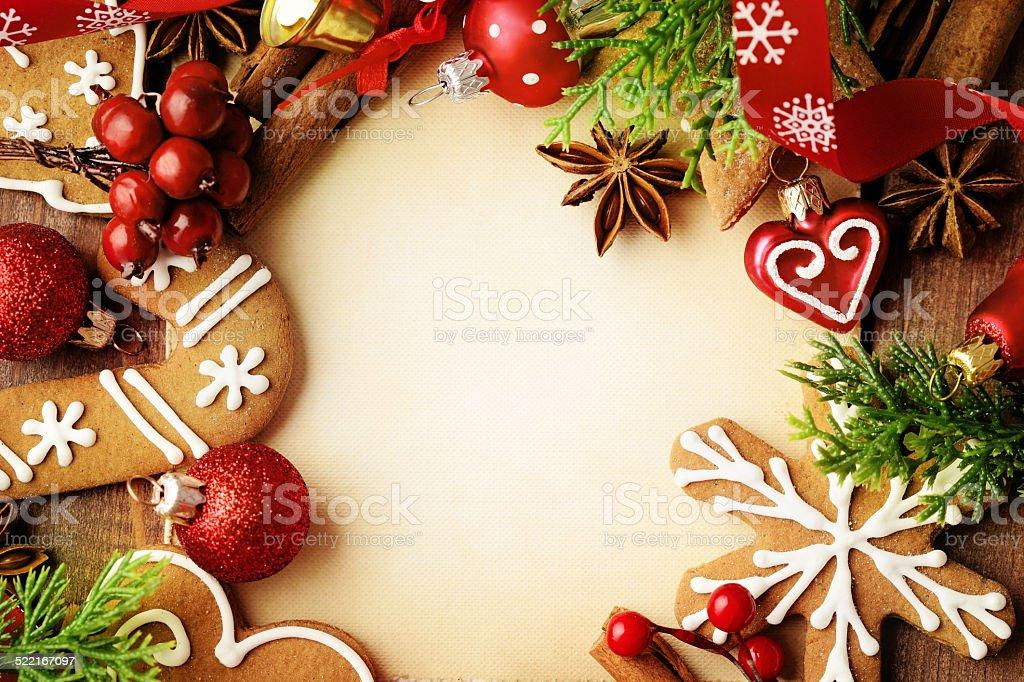 christmas cookies background stock photo