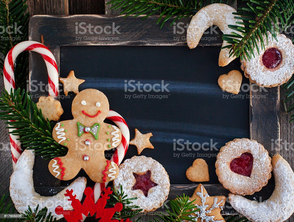 Christmas cookies background, top view stock photo