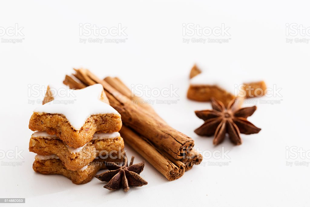 christmas cookies, cinnamon sticks and star anise stock photo