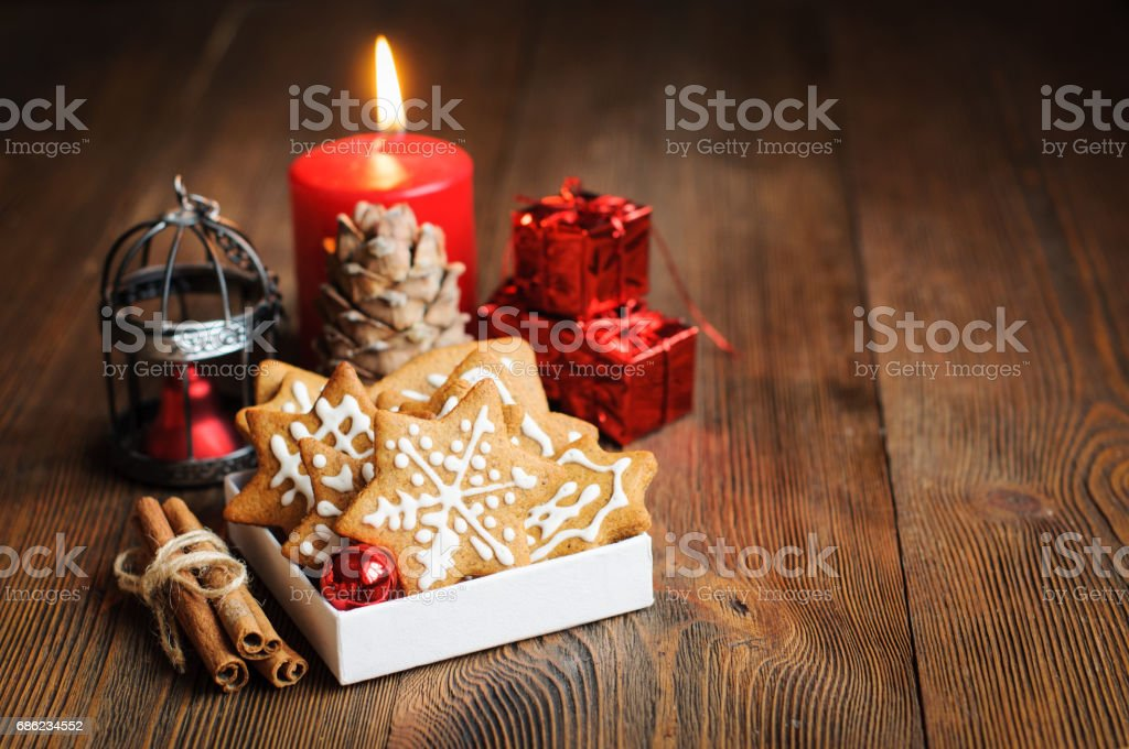 Christmas cookies, copy space for text stock photo