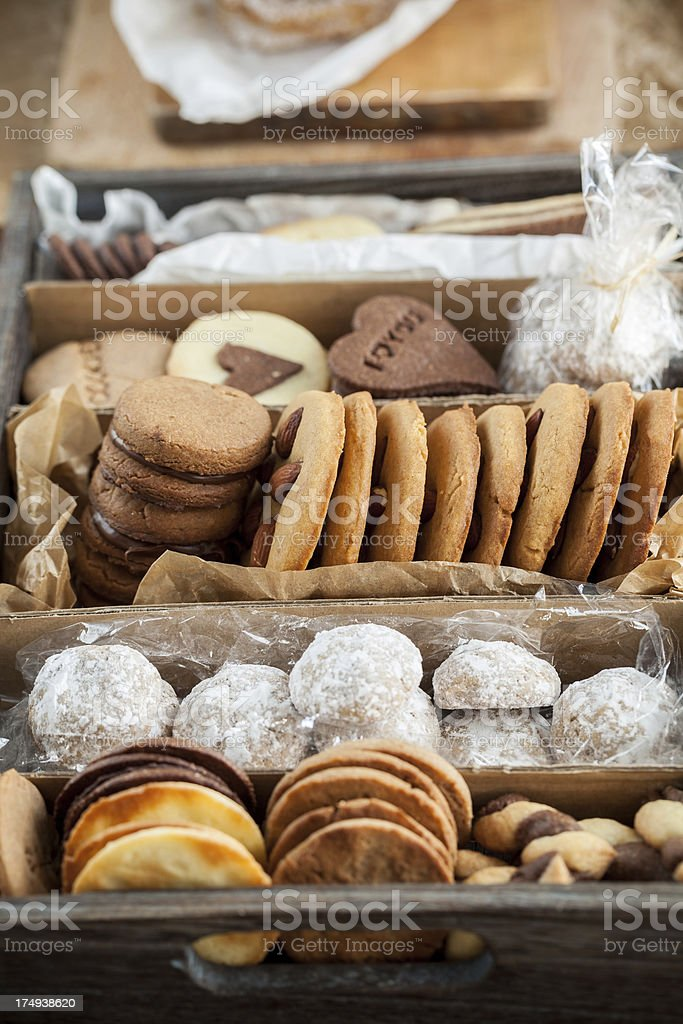 Christmas cookies in a box royalty-free stock photo