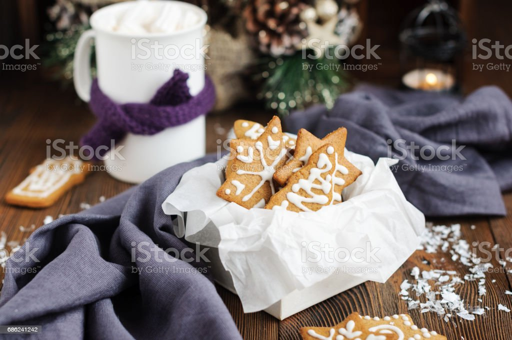 Christmas cookies in box and hot chocolate stock photo