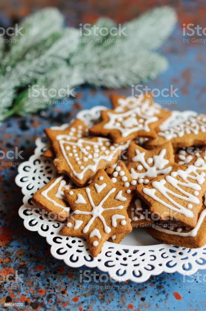 Christmas cookies in plate and fir branch stock photo